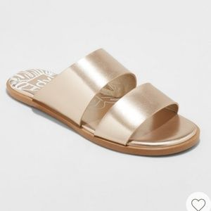 Dv gold metallic sandals flat new size 8 women